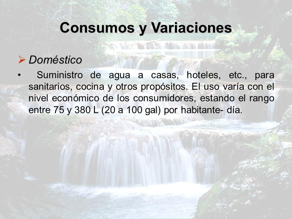 Consumos y Variaciones Doméstico Doméstico Suministro de agua a casas, hoteles, etc., para sanitarios, cocina y otros propósitos. El uso varía con el