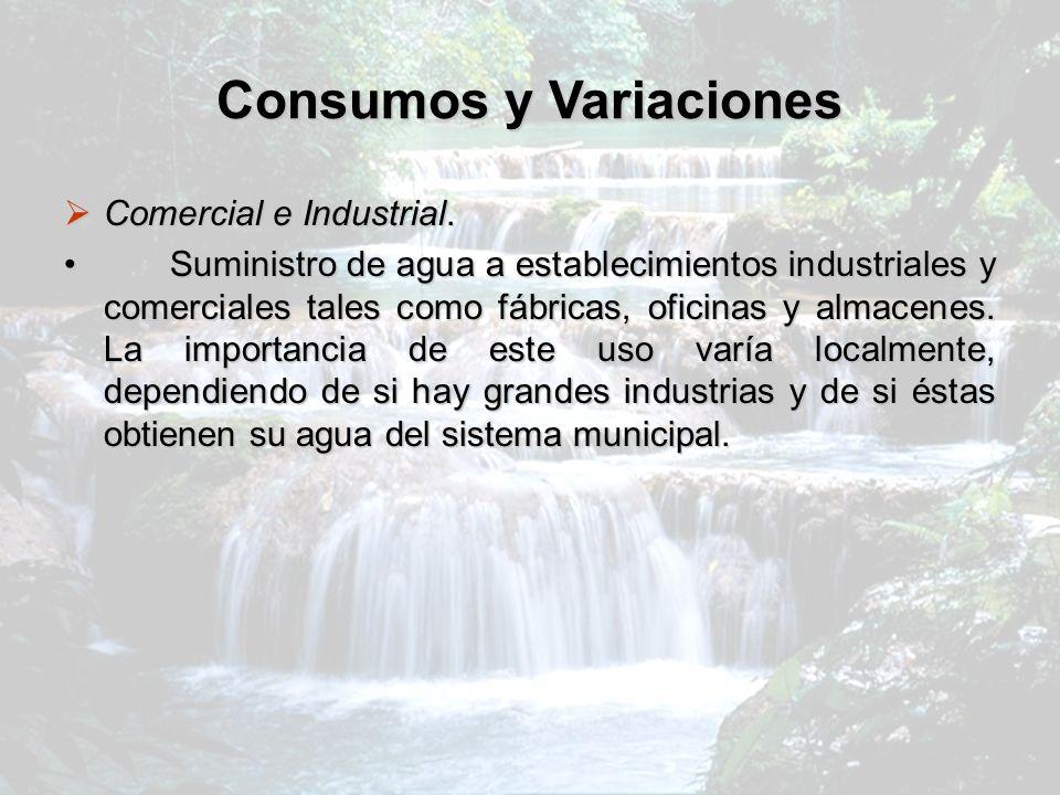 Consumos y Variaciones Comercial e Industrial. Comercial e Industrial. Suministro de agua a establecimientos industriales y comerciales tales como fáb