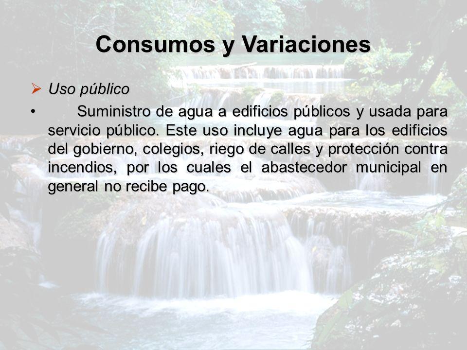 Consumos y Variaciones Uso público Uso público Suministro de agua a edificios públicos y usada para servicio público. Este uso incluye agua para los e