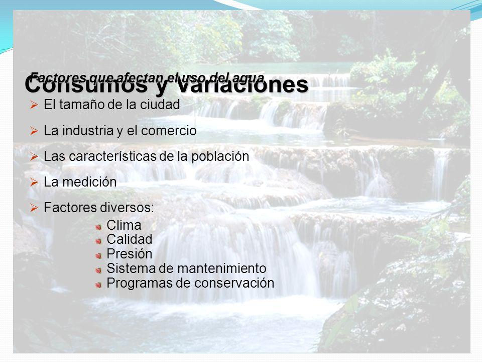 Consumos y Variaciones Factores que afectan el uso del agua El tamaño de la ciudad La industria y el comercio Las características de la población La m