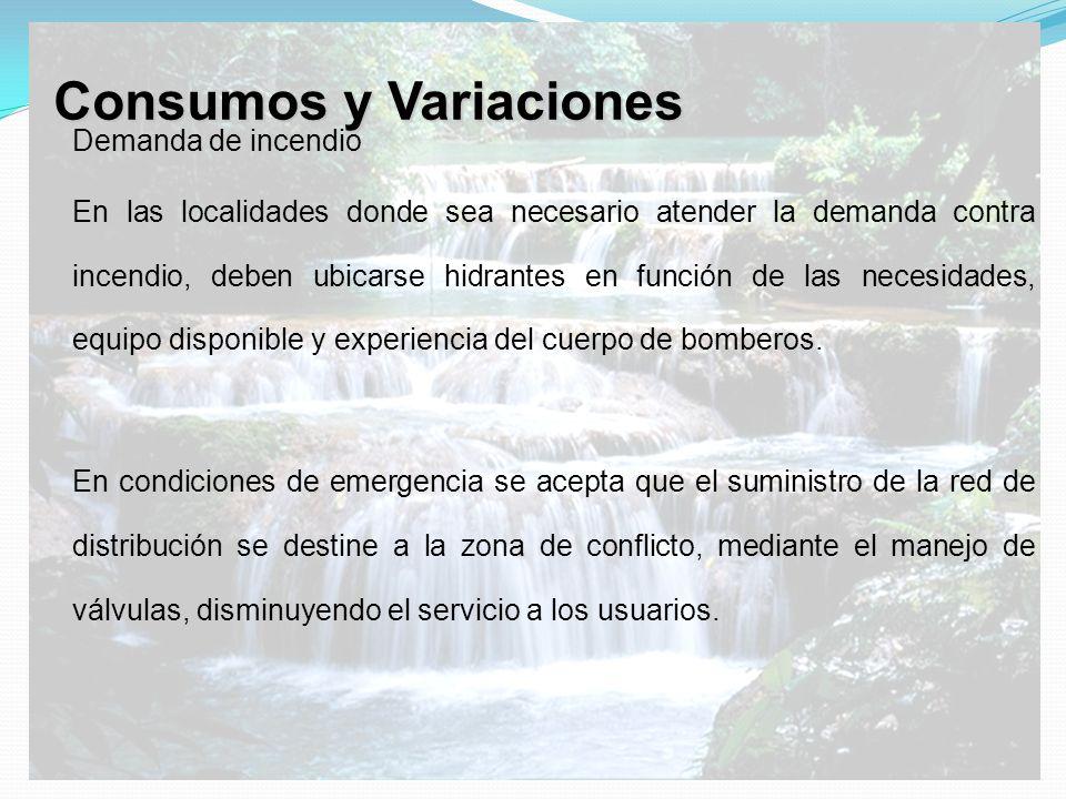 Consumos y Variaciones Demanda de incendio En las localidades donde sea necesario atender la demanda contra incendio, deben ubicarse hidrantes en func