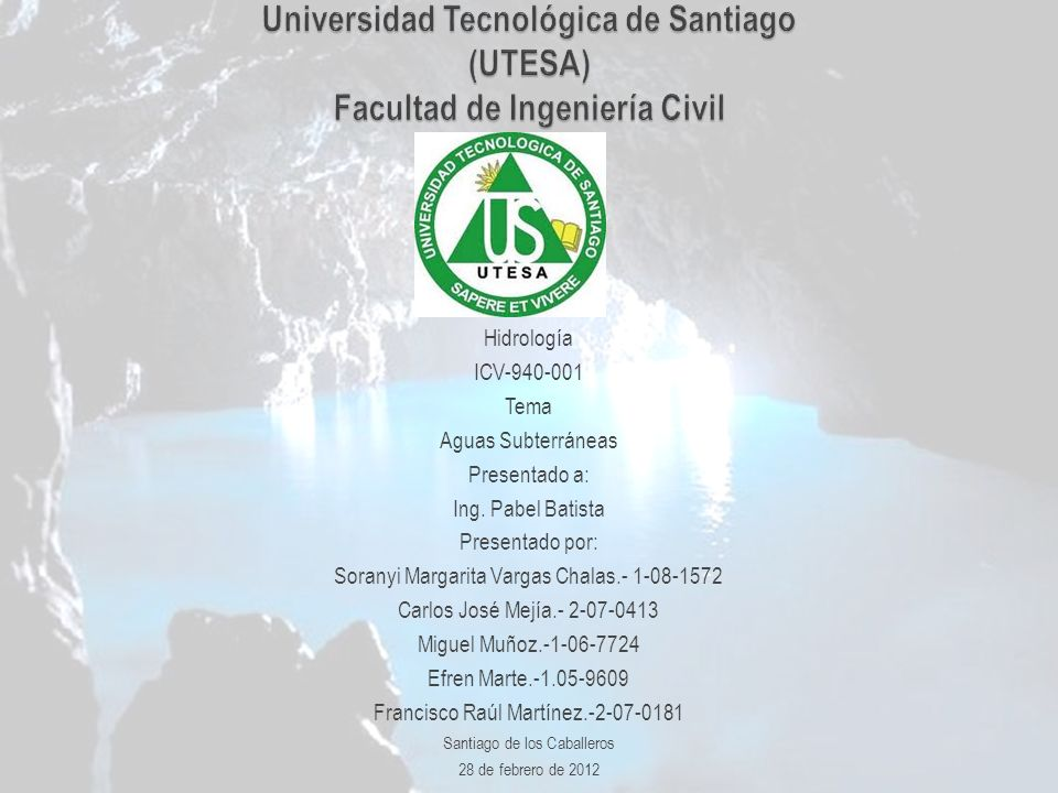 Hidrología ICV-940-001 Tema Aguas Subterráneas Presentado a: Ing. Pabel Batista Presentado por: Soranyi Margarita Vargas Chalas.- 1-08-1572 Carlos Jos