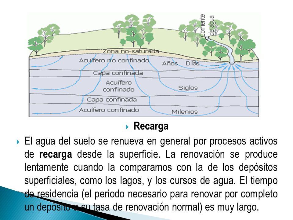 Recarga El agua del suelo se renueva en general por procesos activos de recarga desde la superficie. La renovación se produce lentamente cuando la com