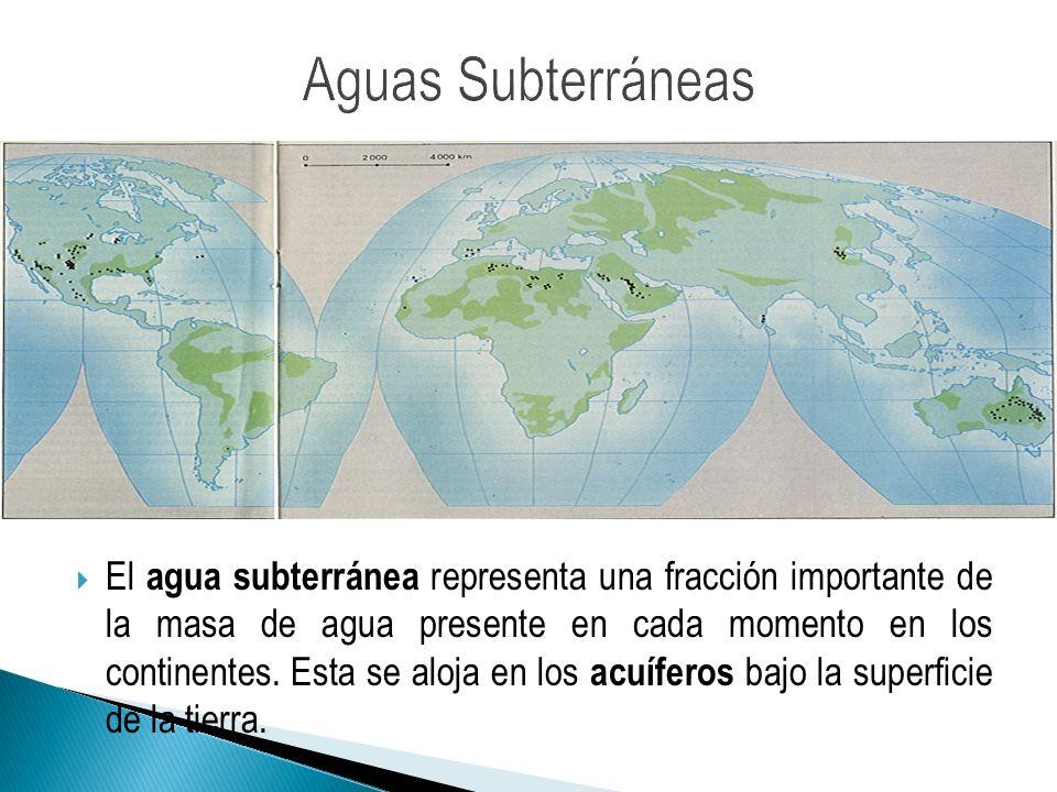 El volumen del agua subterránea es mucho más importante que la masa de agua retenida en lagos o circulante, y aunque menor al de los mayores glaciares, las masas más extensas pueden alcanzar millones de km2 (como el acuífero de guaraní).