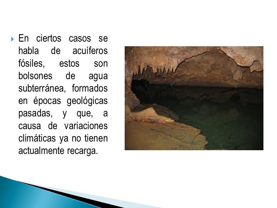En ciertos casos se habla de acuíferos fósiles, estos son bolsones de agua subterránea, formados en épocas geológicas pasadas, y que, a causa de varia