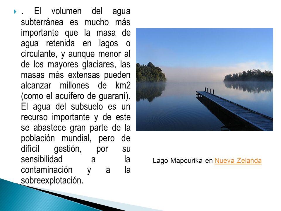 . El volumen del agua subterránea es mucho más importante que la masa de agua retenida en lagos o circulante, y aunque menor al de los mayores glaciar
