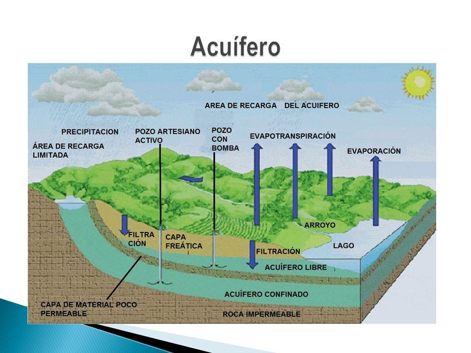 Tipos de Acuíferos Según su estructura Desde el punto de vista de su estructura, ya se ha visto que se pueden distinguir los acuíferos libres y los acuíferos confinados.