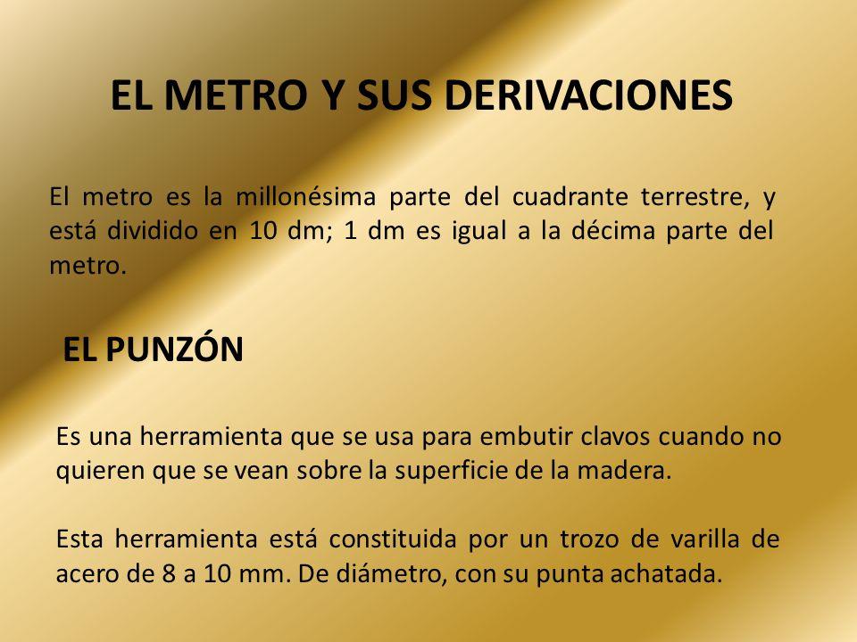 EL METRO Y SUS DERIVACIONES El metro es la millonésima parte del cuadrante terrestre, y está dividido en 10 dm; 1 dm es igual a la décima parte del me