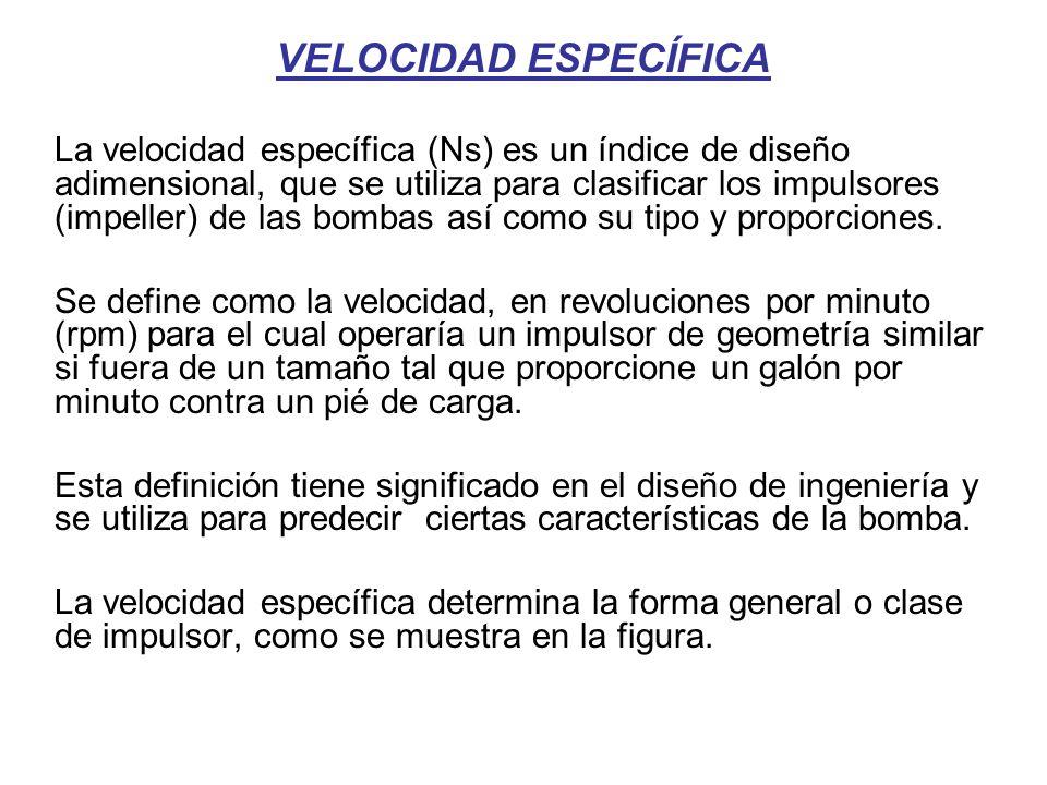 VELOCIDAD ESPECÍFICA La velocidad específica (Ns) es un índice de diseño adimensional, que se utiliza para clasificar los impulsores (impeller) de las bombas así como su tipo y proporciones.