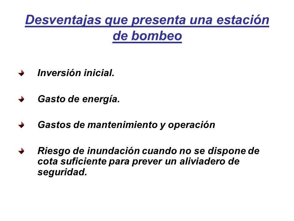 Desventajas que presenta una estación de bombeo Inversión inicial.