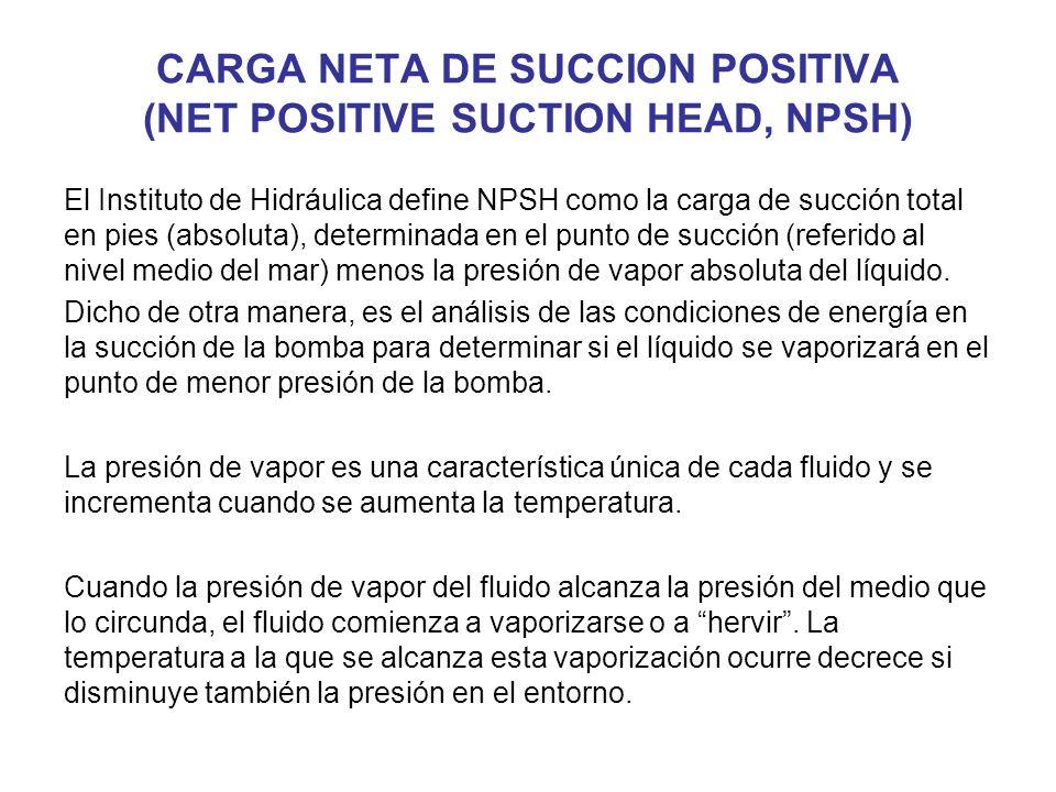 CARGA NETA DE SUCCION POSITIVA (NET POSITIVE SUCTION HEAD, NPSH) El Instituto de Hidráulica define NPSH como la carga de succión total en pies (absoluta), determinada en el punto de succión (referido al nivel medio del mar) menos la presión de vapor absoluta del líquido.