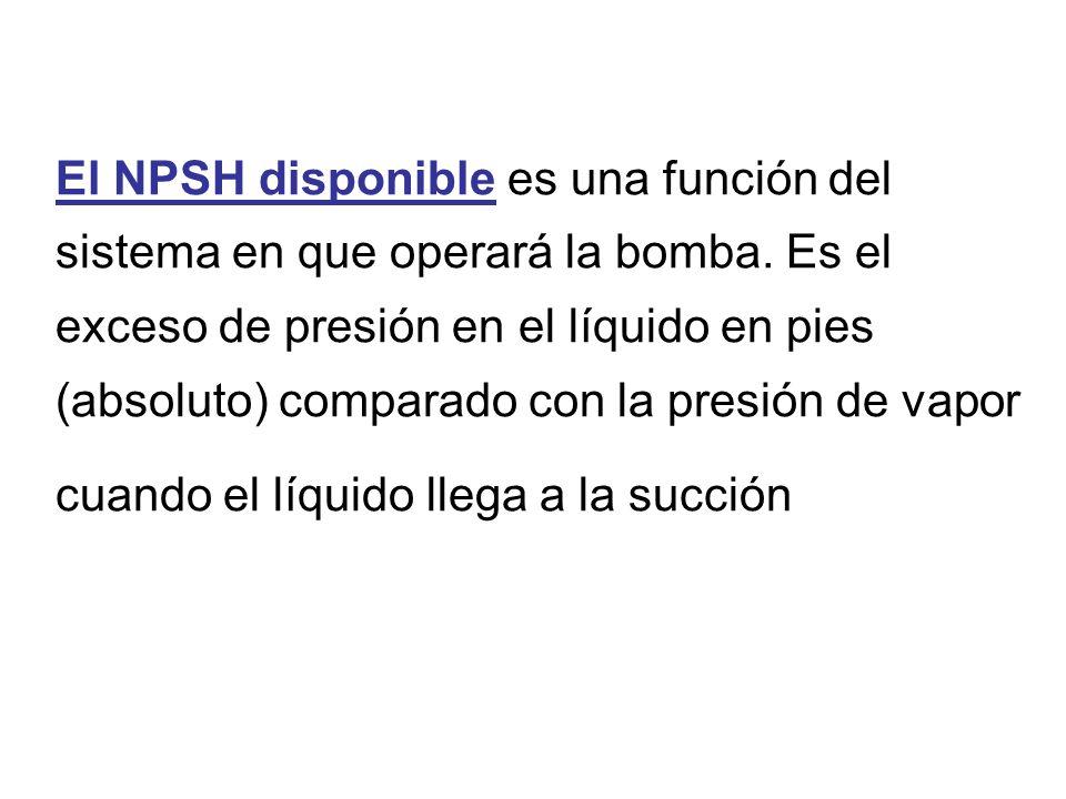 El NPSH disponible es una función del sistema en que operará la bomba.