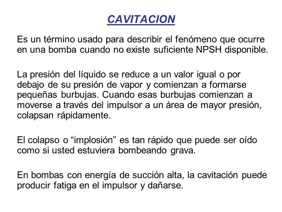 CAVITACION Es un término usado para describir el fenómeno que ocurre en una bomba cuando no existe suficiente NPSH disponible.