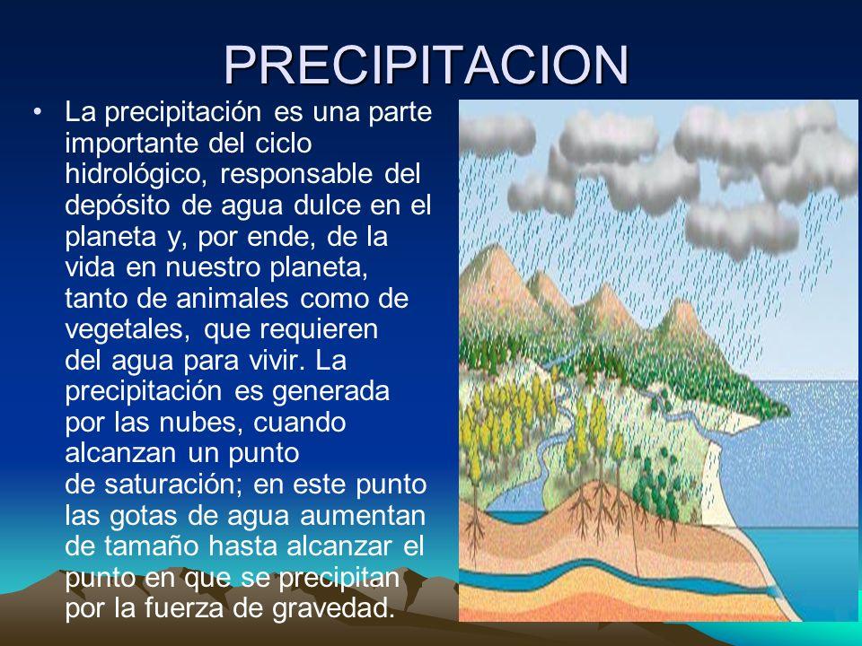 PRECIPITACION La precipitación es una parte importante del ciclo hidrológico, responsable del depósito de agua dulce en el planeta y, por ende, de la