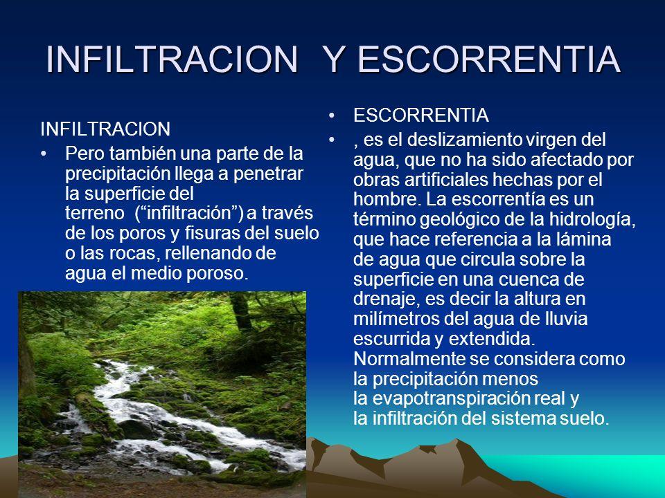 INFILTRACION Y ESCORRENTIA INFILTRACION Pero también una parte de la precipitación llega a penetrar la superficie del terreno (infiltración) a través