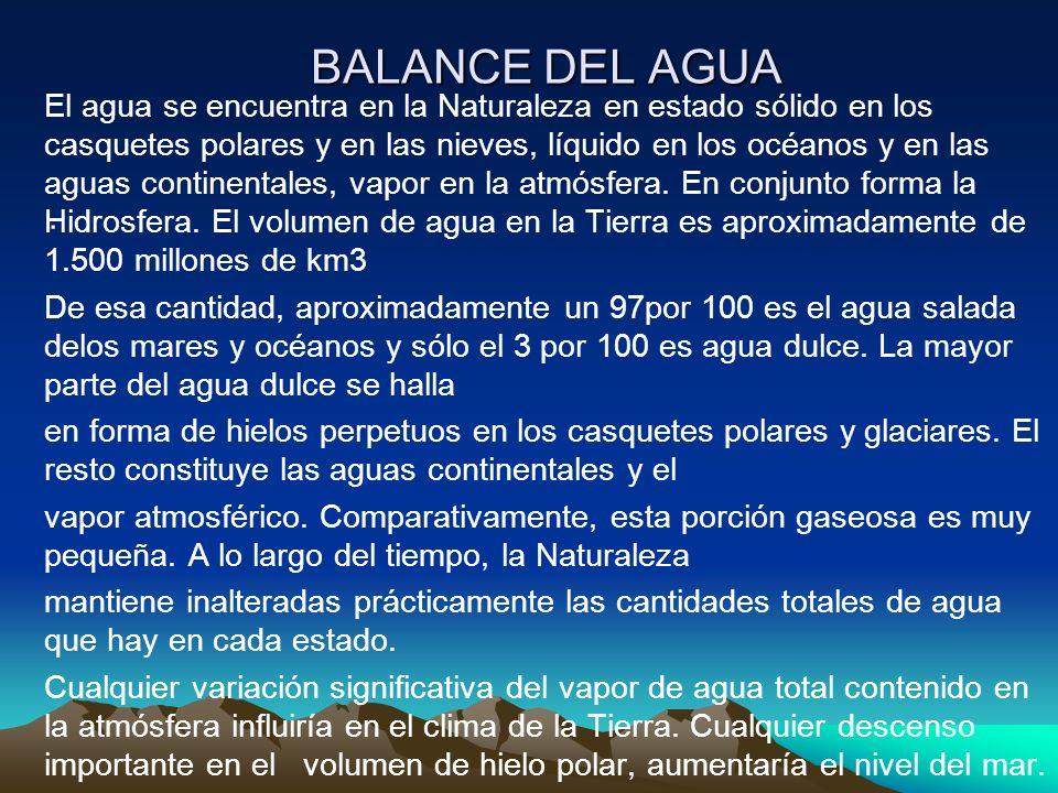 BALANCE DEL AGUA. El agua se encuentra en la Naturaleza en estado sólido en los casquetes polares y en las nieves, líquido en los océanos y en las agu