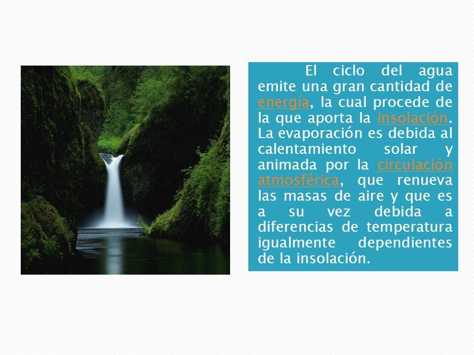 El ciclo del agua emite una gran cantidad de energía, la cual procede de la que aporta la insolación. La evaporación es debida al calentamiento solar