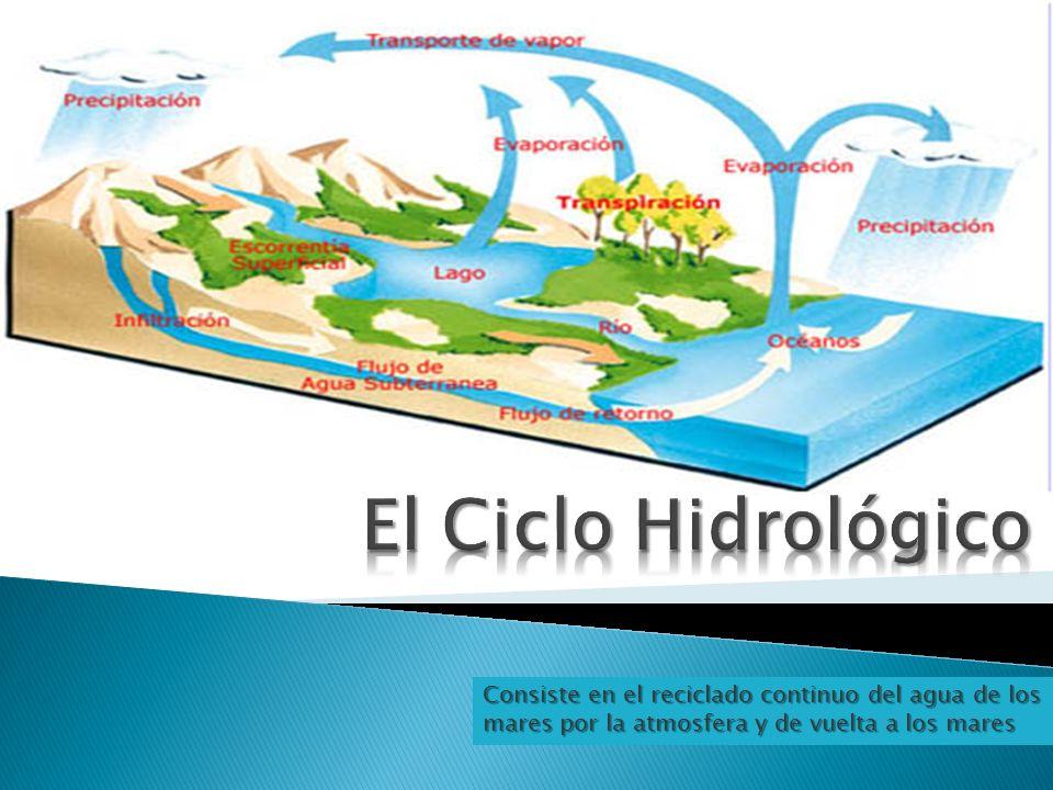 Consiste en el reciclado continuo del agua de los mares por la atmosfera y de vuelta a los mares