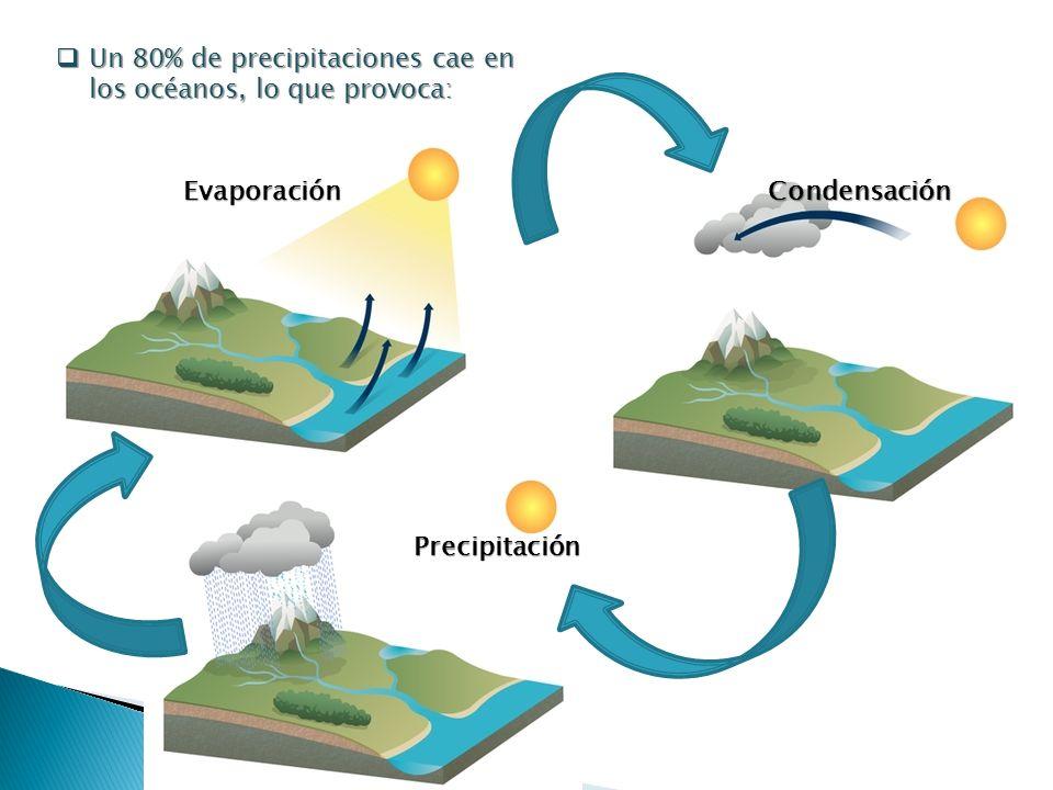 Evaporación Evaporación Un 80% de precipitaciones cae en los océanos, lo que provoca: Un 80% de precipitaciones cae en los océanos, lo que provoca: Co