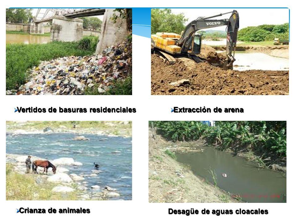 Vertidos de basuras residenciales Vertidos de basuras residenciales Extracción de arena Extracción de arena Crianza de animales Crianza de animales De