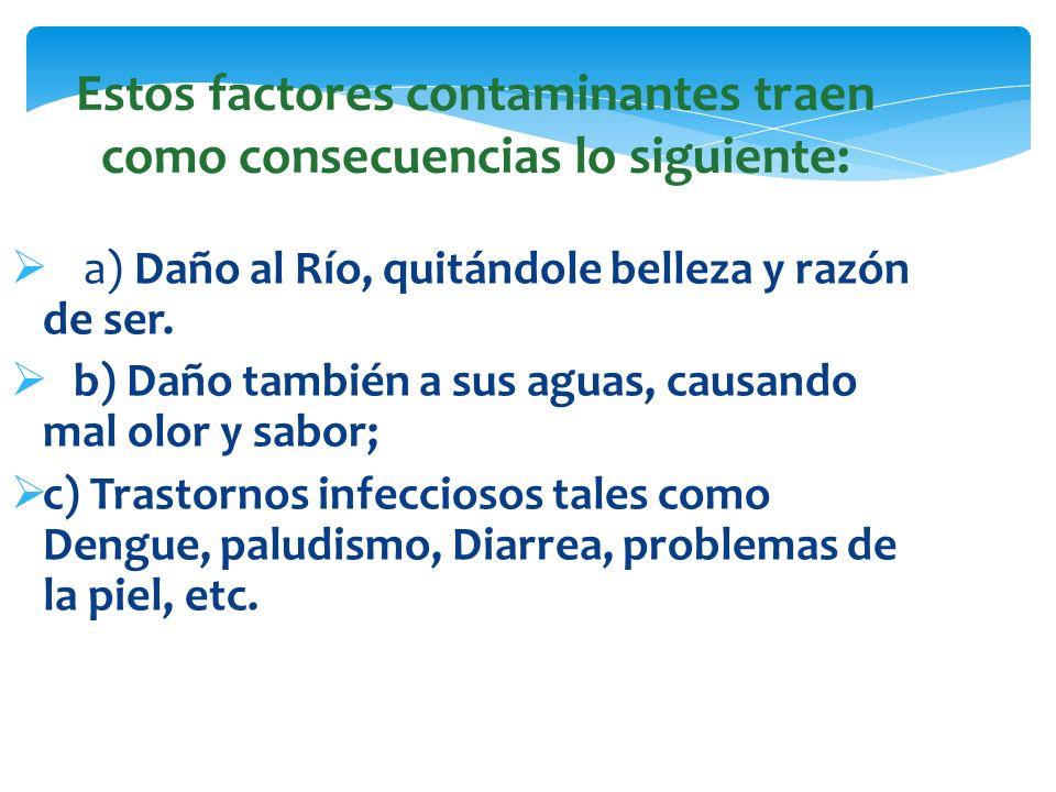 Estos factores contaminantes traen como consecuencias lo siguiente: a) Daño al Río, quitándole belleza y razón de ser. b) Daño también a sus aguas, ca