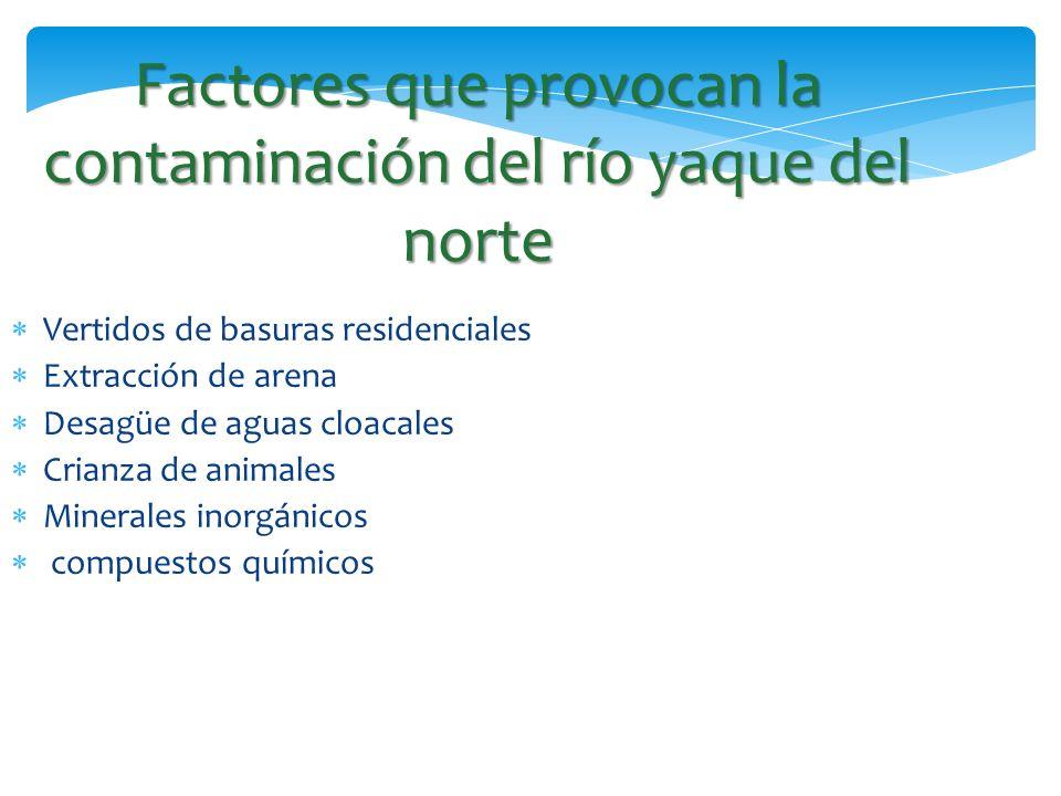 Factores que provocan la contaminación del río yaque del norte Vertidos de basuras residenciales Extracción de arena Desagüe de aguas cloacales Crianz