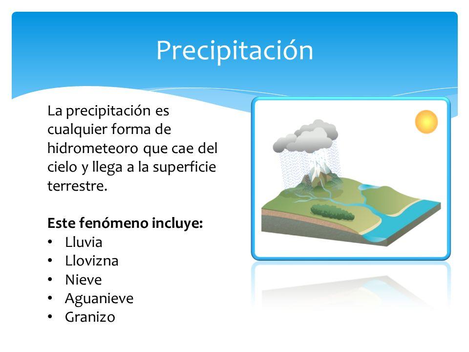 Precipitación La precipitación es cualquier forma de hidrometeoro que cae del cielo y llega a la superficie terrestre. Este fenómeno incluye: Lluvia L