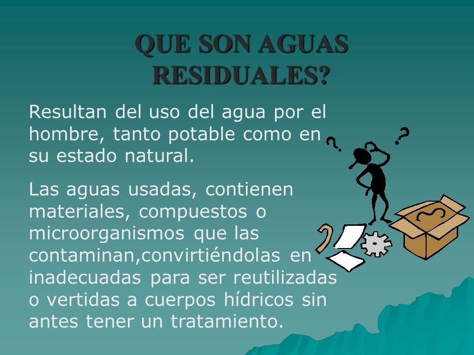QUE SON AGUAS RESIDUALES? Resultan del uso del agua por el hombre, tanto potable como en su estado natural. Las aguas usadas, contienen materiales, co