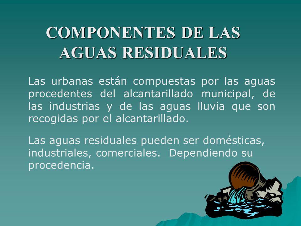 COMPONENTES DE LAS AGUAS RESIDUALES Las urbanas están compuestas por las aguas procedentes del alcantarillado municipal, de las industrias y de las ag