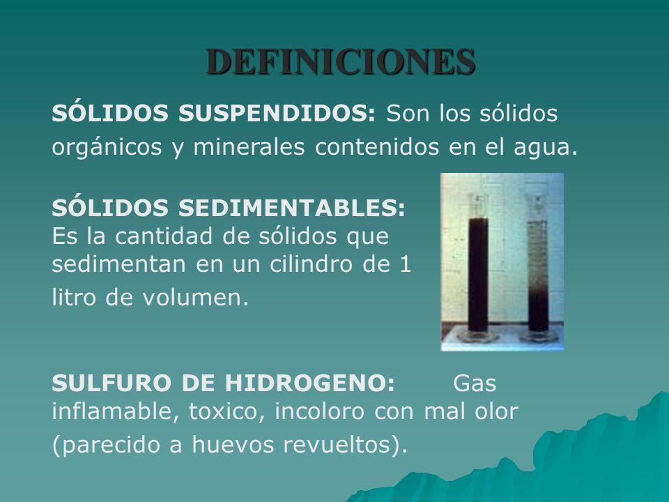 DEFINICIONES SÓLIDOS SUSPENDIDOS:Son los sólidos orgánicos y minerales contenidos en el agua. SÓLIDOS SEDIMENTABLES: Es la cantidad de sólidos que sed