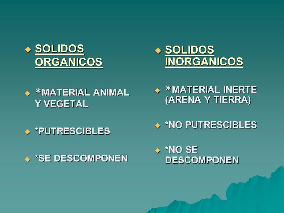 SOLIDOS ORGANICOS SOLIDOS ORGANICOS * MATERIAL ANIMAL Y VEGETAL * MATERIAL ANIMAL Y VEGETAL *PUTRESCIBLES *PUTRESCIBLES *SE DESCOMPONEN *SE DESCOMPONE