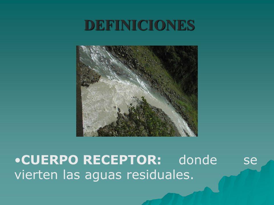 DEFINICIONES CUERPO RECEPTOR:donde se vierten las aguas residuales.