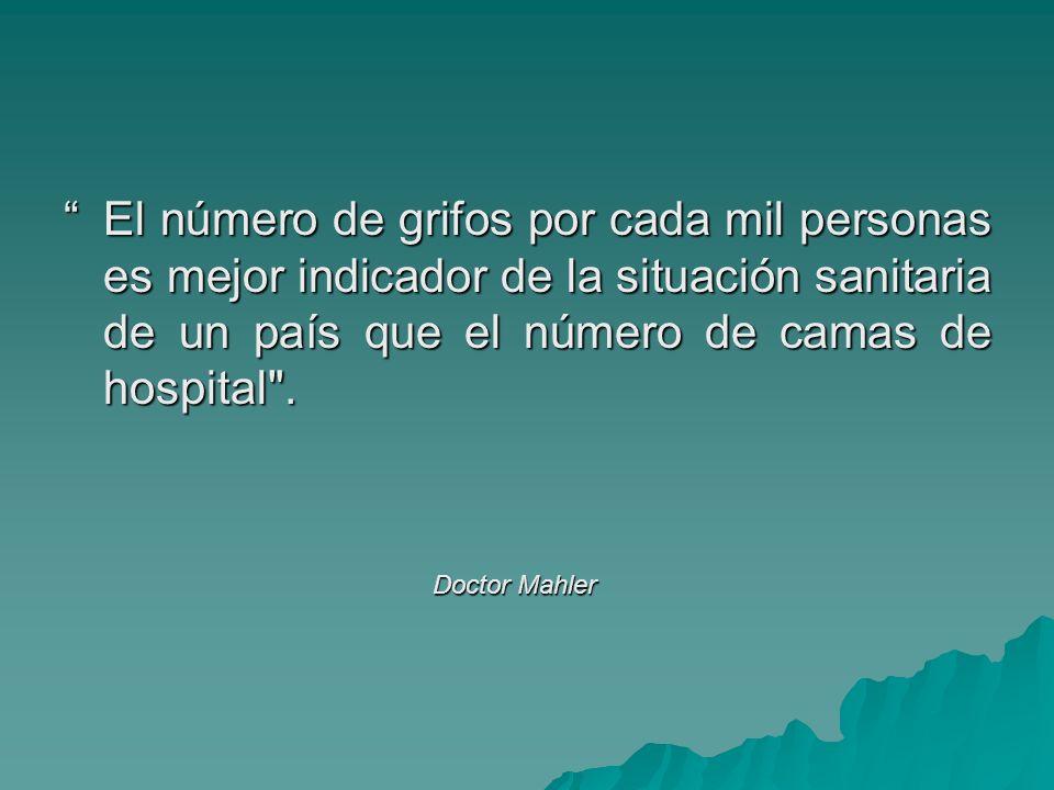 El número de grifos por cada mil personas es mejor indicador de la situación sanitaria de un país que el número de camas de hospital