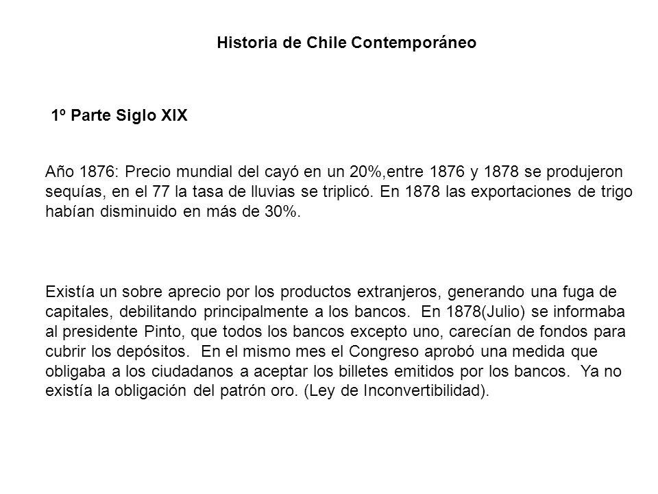 Historia de Chile Contemporáneo 1º Parte Siglo XIX Año 1876: Precio mundial del cayó en un 20%,entre 1876 y 1878 se produjeron sequías, en el 77 la ta