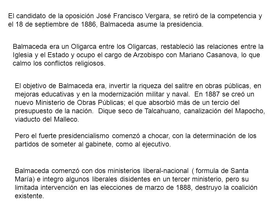 El candidato de la oposición José Francisco Vergara, se retiró de la competencia y el 18 de septiembre de 1886, Balmaceda asume la presidencia. Balmac