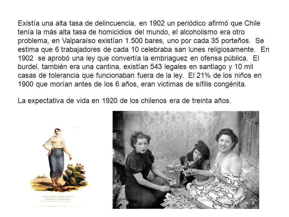 Existía una alta tasa de delincuencia, en 1902 un periódico afirmó que Chile tenía la más alta tasa de homicidios del mundo, el alcoholismo era otro p