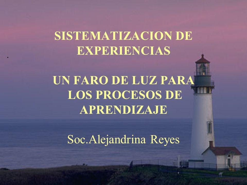SISTEMATIZACION DE EXPERIENCIAS UN FARO DE LUZ PARA LOS PROCESOS DE APRENDIZAJE Soc.Alejandrina Reyes.