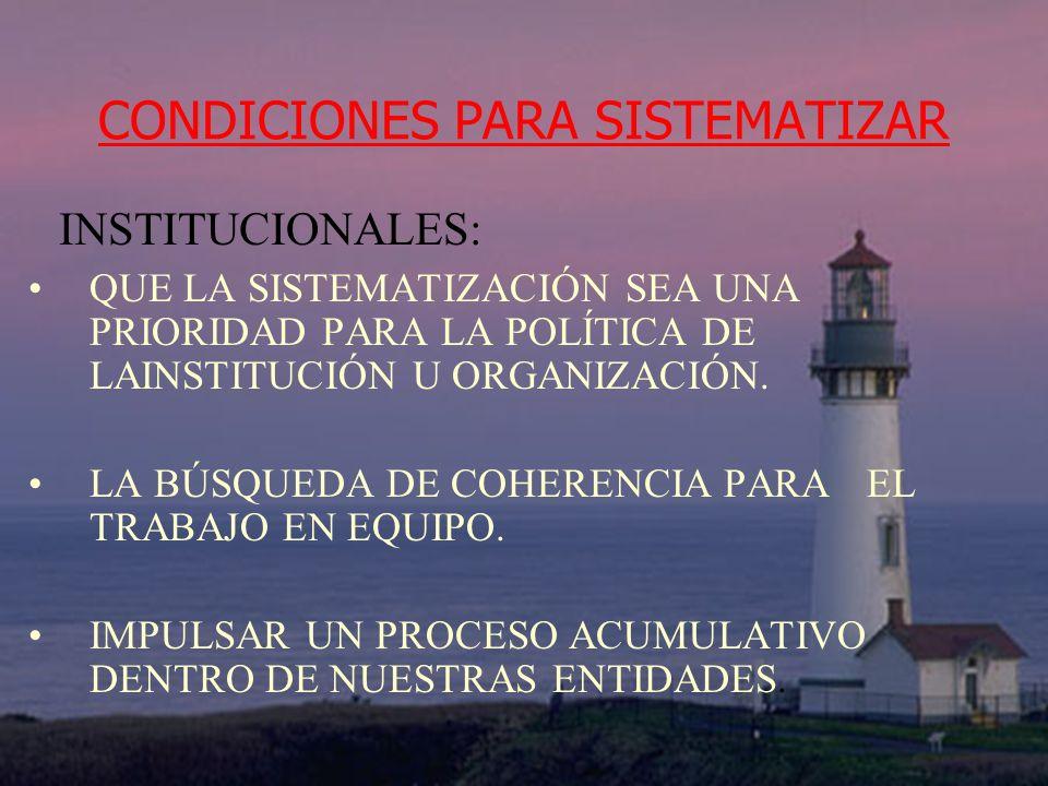 CONDICIONES PARA SISTEMATIZAR INSTITUCIONALES: QUE LA SISTEMATIZACIÓN SEA UNA PRIORIDAD PARA LA POLÍTICA DE LAINSTITUCIÓN U ORGANIZACIÓN. LA BÚSQUEDA