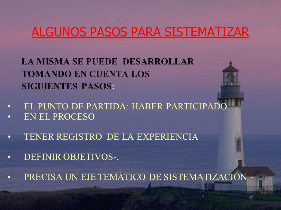 ALGUNOS PASOS PARA SISTEMATIZAR RECONSTRUCCIÓN DEL PROCESO VIVIDO RECOPILAR, ORDENAR Y CLASIFICAR LA INFORMACIÓN.