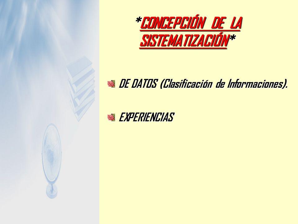 *CONCEPCIÓN DE LA SISTEMATIZACIÓN* DE DATOS (Clasificación de Informaciones). EXPERIENCIAS