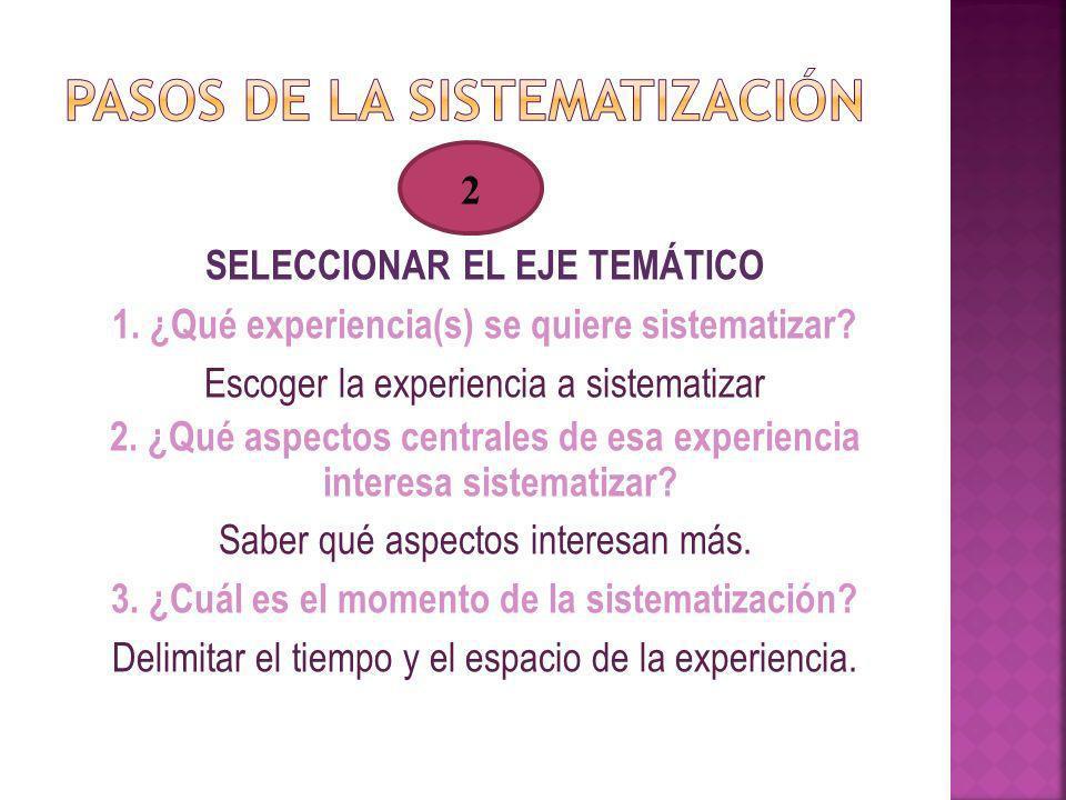 SELECCIONAR EL EJE TEMÁTICO 1. ¿Qué experiencia(s) se quiere sistematizar? Escoger la experiencia a sistematizar 2. ¿Qué aspectos centrales de esa exp