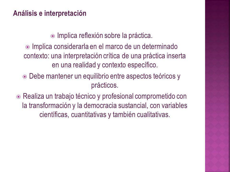 Análisis e interpretación Implica reflexión sobre la práctica. Implica considerarla en el marco de un determinado contexto: una interpretación crítica