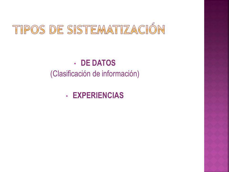 DE DATOS DE DATOS (Clasificación de información) EXPERIENCIAS EXPERIENCIAS