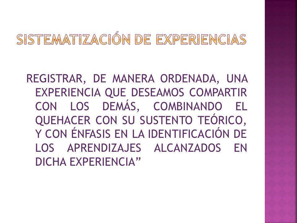 REGISTRAR, DE MANERA ORDENADA, UNA EXPERIENCIA QUE DESEAMOS COMPARTIR CON LOS DEMÁS, COMBINANDO EL QUEHACER CON SU SUSTENTO TEÓRICO, Y CON ÉNFASIS EN LA IDENTIFICACIÓN DE LOS APRENDIZAJES ALCANZADOS EN DICHA EXPERIENCIA