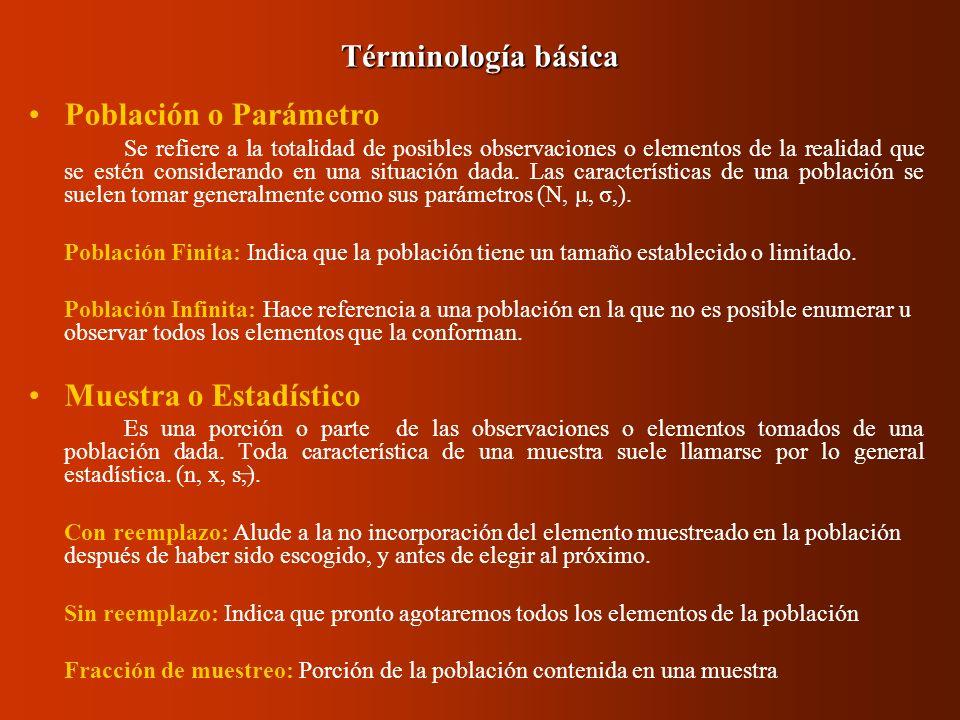 Población o Parámetro Se refiere a la totalidad de posibles observaciones o elementos de la realidad que se estén considerando en una situación dada.