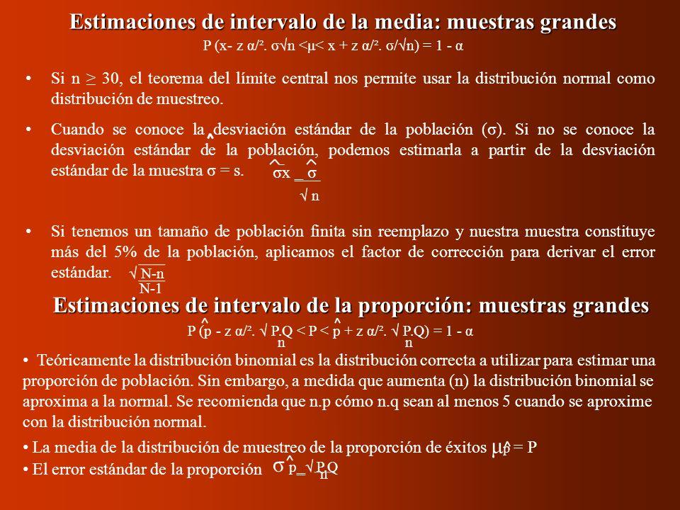 P (p - z α/². P.Q < P < p + z α/². P.Q) = 1 - α nn Estimaciones de intervalo de la media: muestras grandes Si n 30, el teorema del límite central nos