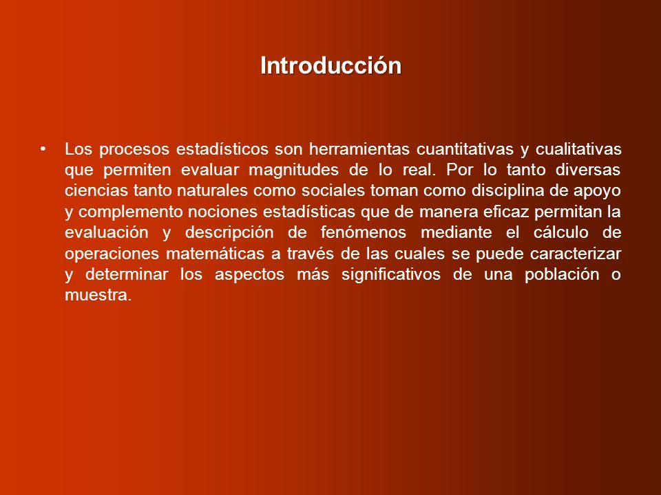 Introducción Los procesos estadísticos son herramientas cuantitativas y cualitativas que permiten evaluar magnitudes de lo real. Por lo tanto diversas