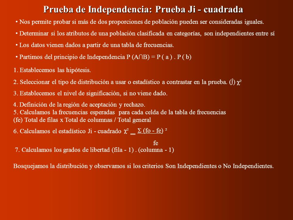 Prueba de Independencia: Prueba Ji - cuadrada 1. Establecemos las hipótesis. 2. Seleccionar el tipo de distribución a usar o estadístico a contrastar