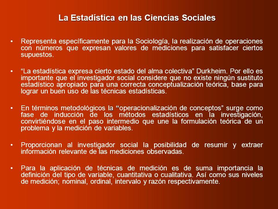 La Estadística en las Ciencias Sociales Representa específicamente para la Sociología, la realización de operaciones con números que expresan valores