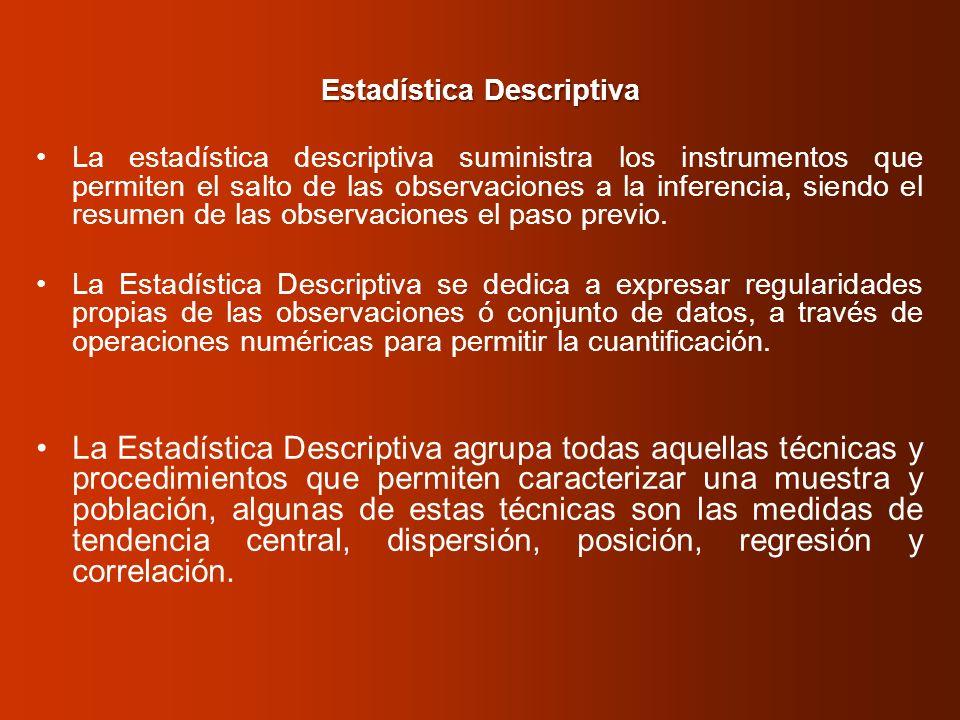 Estadística Descriptiva La estadística descriptiva suministra los instrumentos que permiten el salto de las observaciones a la inferencia, siendo el r